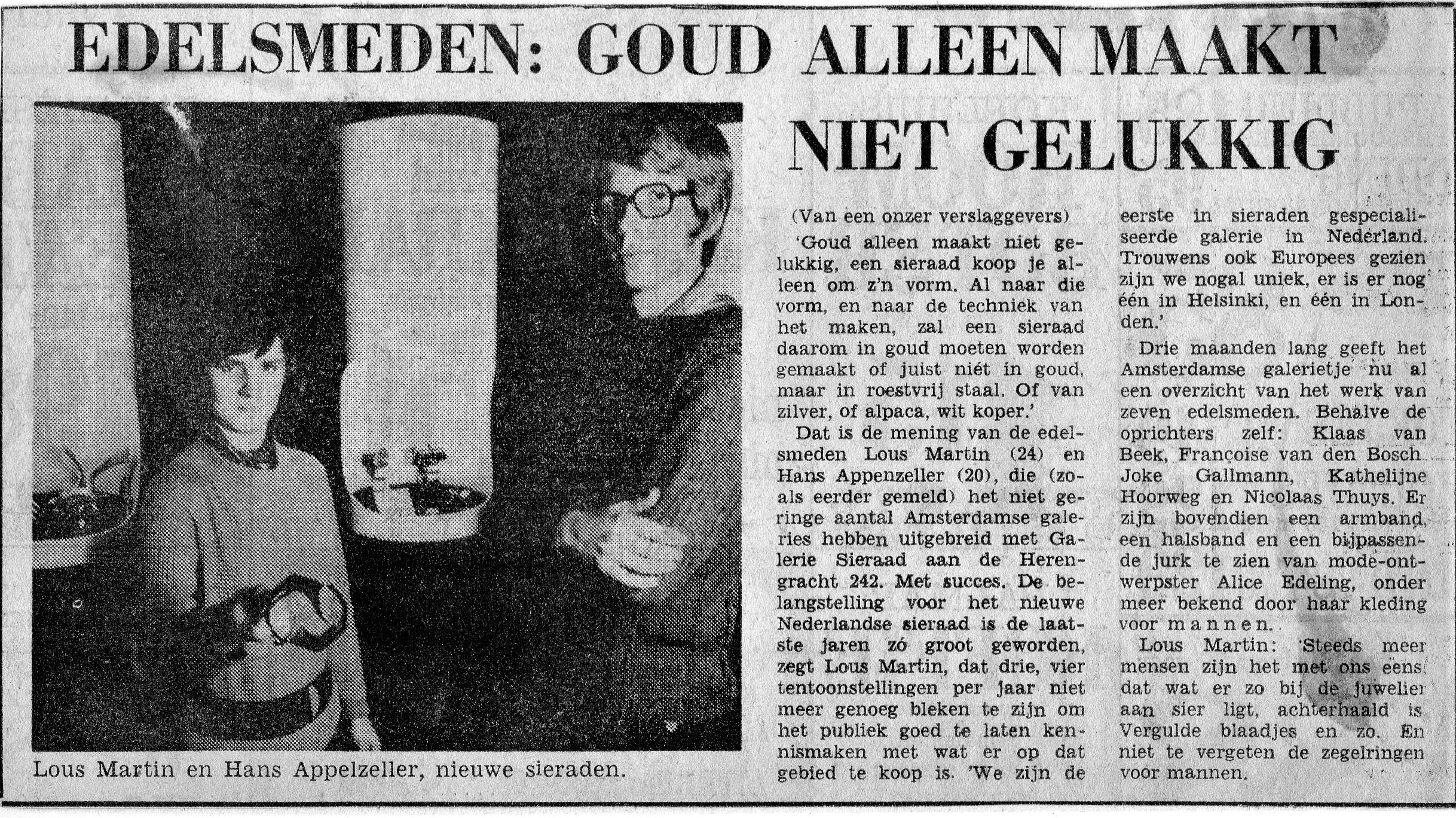 Kranteartikel over Galerie Sierraad, foto met Lous Martin en Hans Appenzeller, portret
