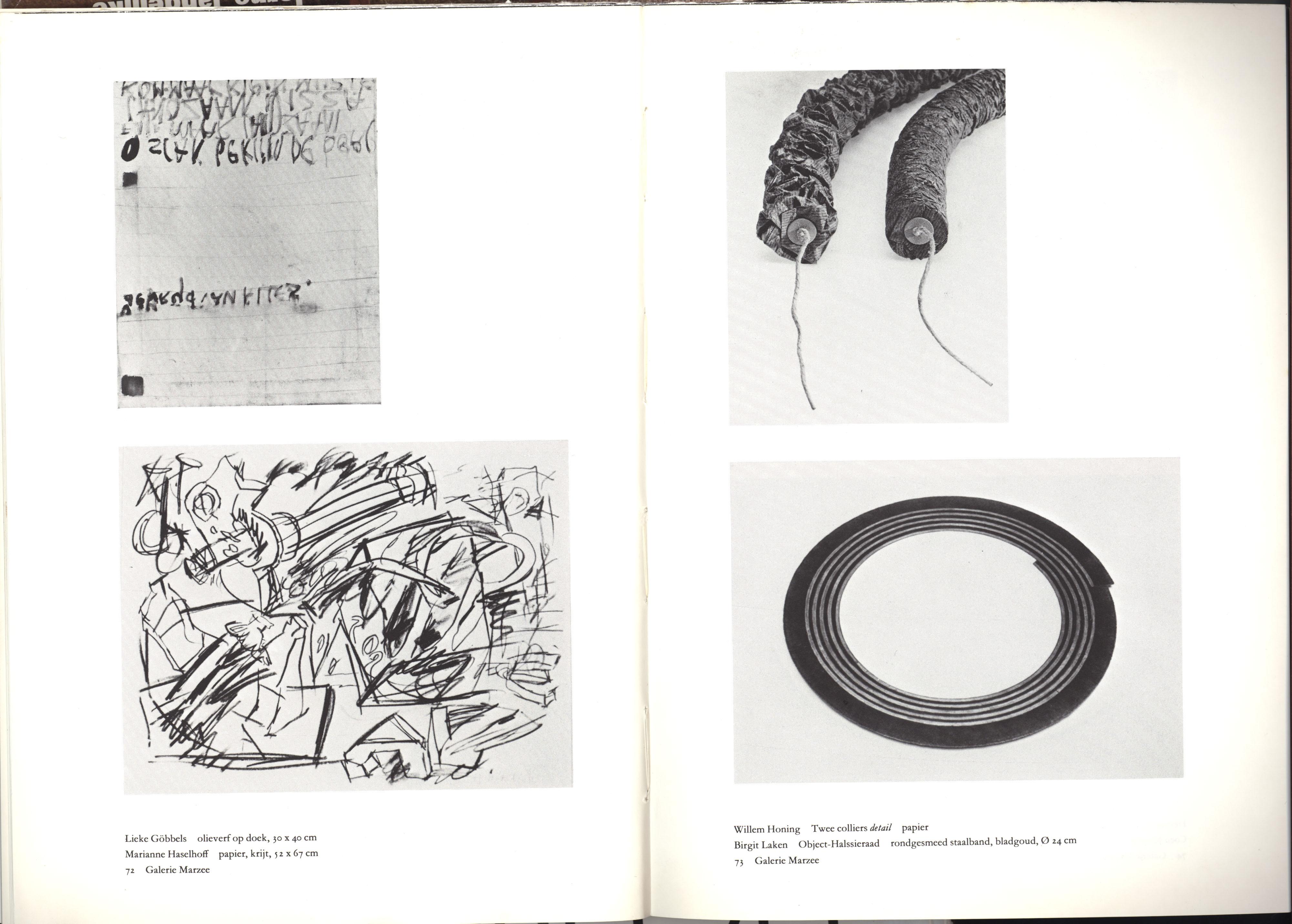 Galerie Marzee, Willem Honing, halssieraad, touw, papier, Birgit Laken, staal, bladgoud