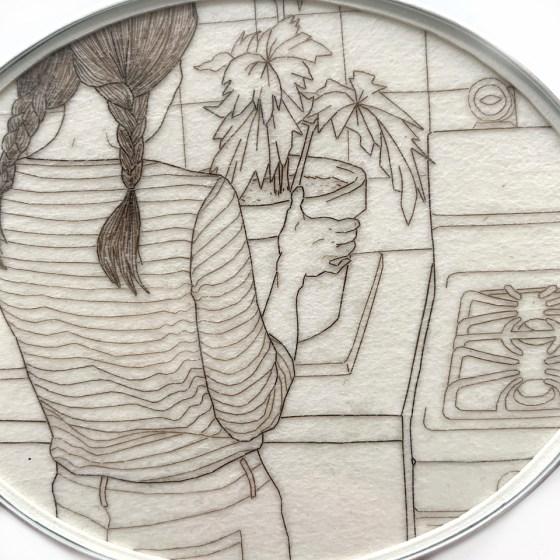Melanie Bilenker, Ann's Begonia, broche, menselijk haar, papier, zilver, kristal, roestvrij staal