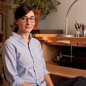 Melanie Bilenker, werkbank, portret, foto Colin Lenton