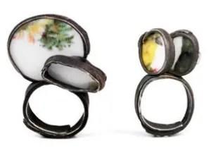 Luzia Vogt, Flüchtige Momente, ringen, geöxideerd zilver, porselein