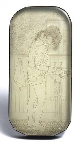 Melanie Bilenker, Cleaning, broche, 2009, menselijk haar, kunsthars, goud, ebbenhout, pigment