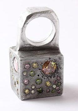 Karl Fritsch, ring, 2013, aluminium, cubic zirconia
