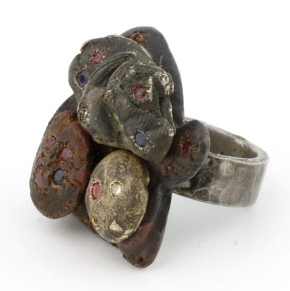 Karl Fritsch, Ring #319, ring, 2011, zilver, koper, goud, messing, diamant, robijn, saffier