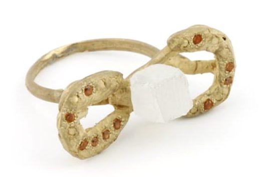 Karl Fritsch, Ring #454, ring, 2019, goud, oranje saffier, cubic zirconia