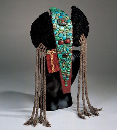 Sieraad, India, 1900-1999. Collectie World Jewellery Museum, turkoois, koraal, leer, wol