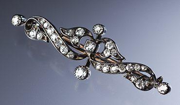 Broche, Verenigd Koninkrijk, 1920. Collectie World Jewellery Museum, diamant, wit goud