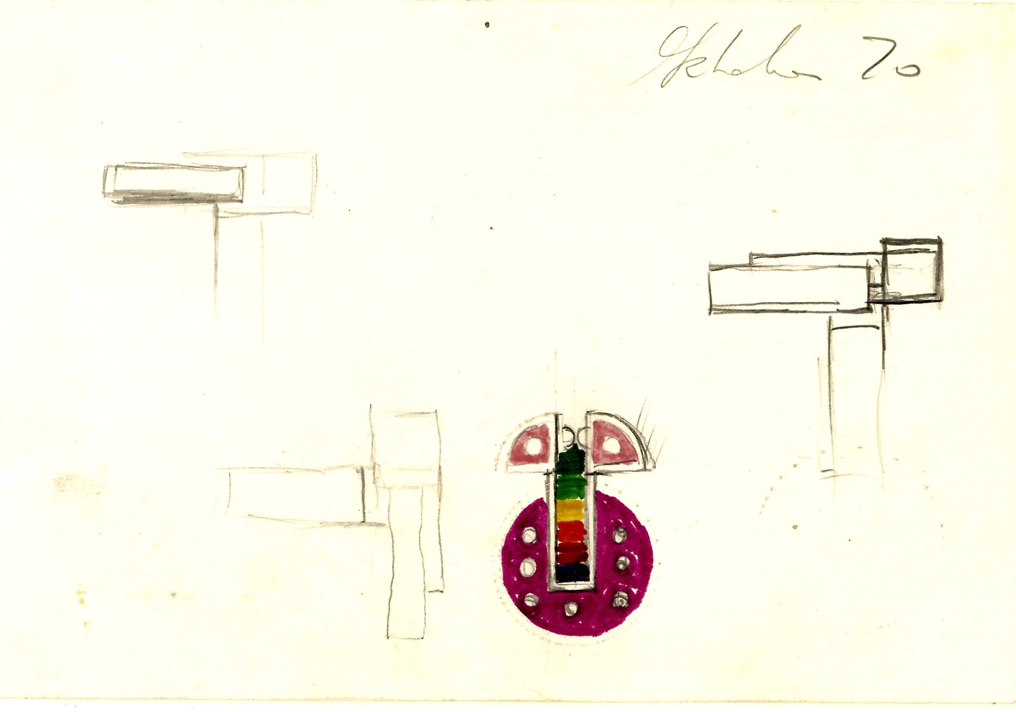 Fritz Maierhofer, tekening broche, 1970. Collectie Boelen