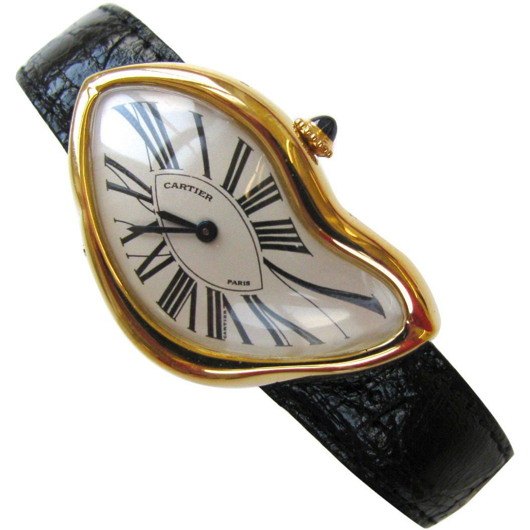 Cartier, Crash Watch, horloge, 1991, 332/400. Foto Kimberly Klosterman, krokodilleleer, goud,