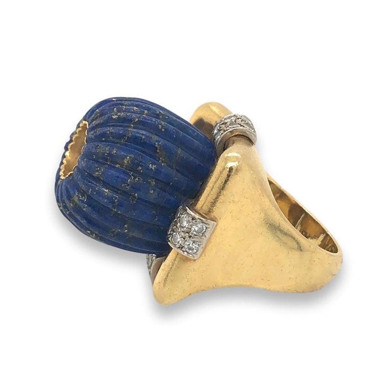 Ring, 1970-1979. Foto Kimberly Klosterman, goud, lapis lazuli, diamant