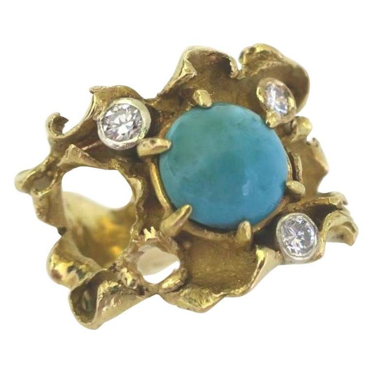 Ring, Italië, circa 1960. Foto Kimberly Klosterman, goud, turkoois, diamant