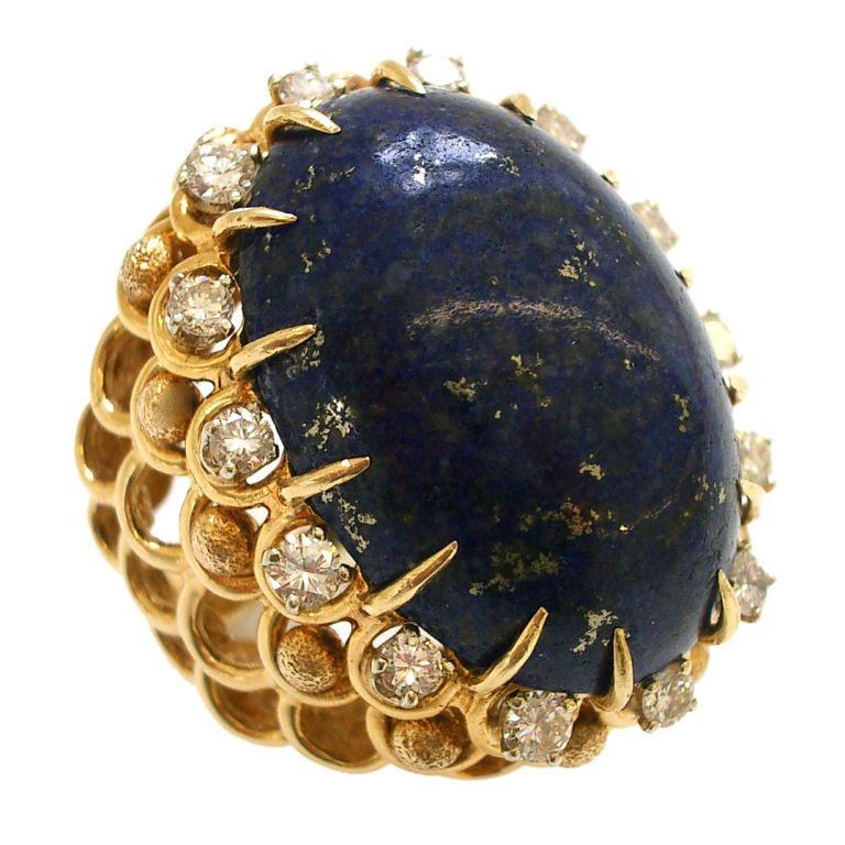 Ring, circa 1960. Foto Kimberly Klosterman, goud, diamant, lapis lazuli