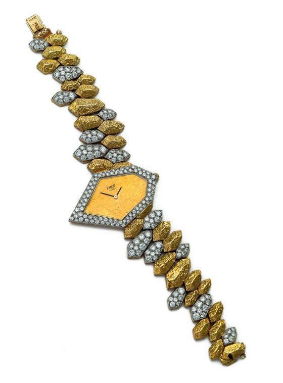 Gérald Genta voor Fred Joaillier, horloge, circa 1970. Collectie Kimberly Klosterman. Foto Kimberly Klosterman, goud, diamant