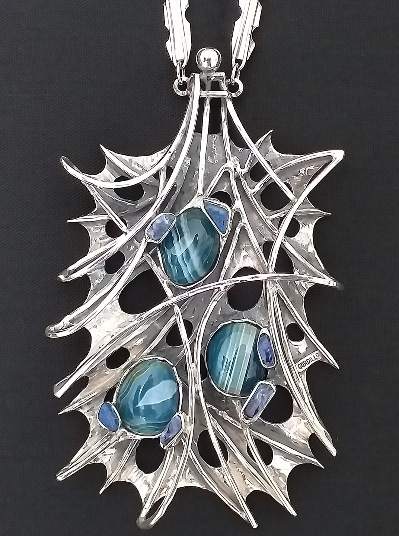 Alberto Gordillo, halssieraad, 1960-1969, zilver, agaat, lapis lazuli