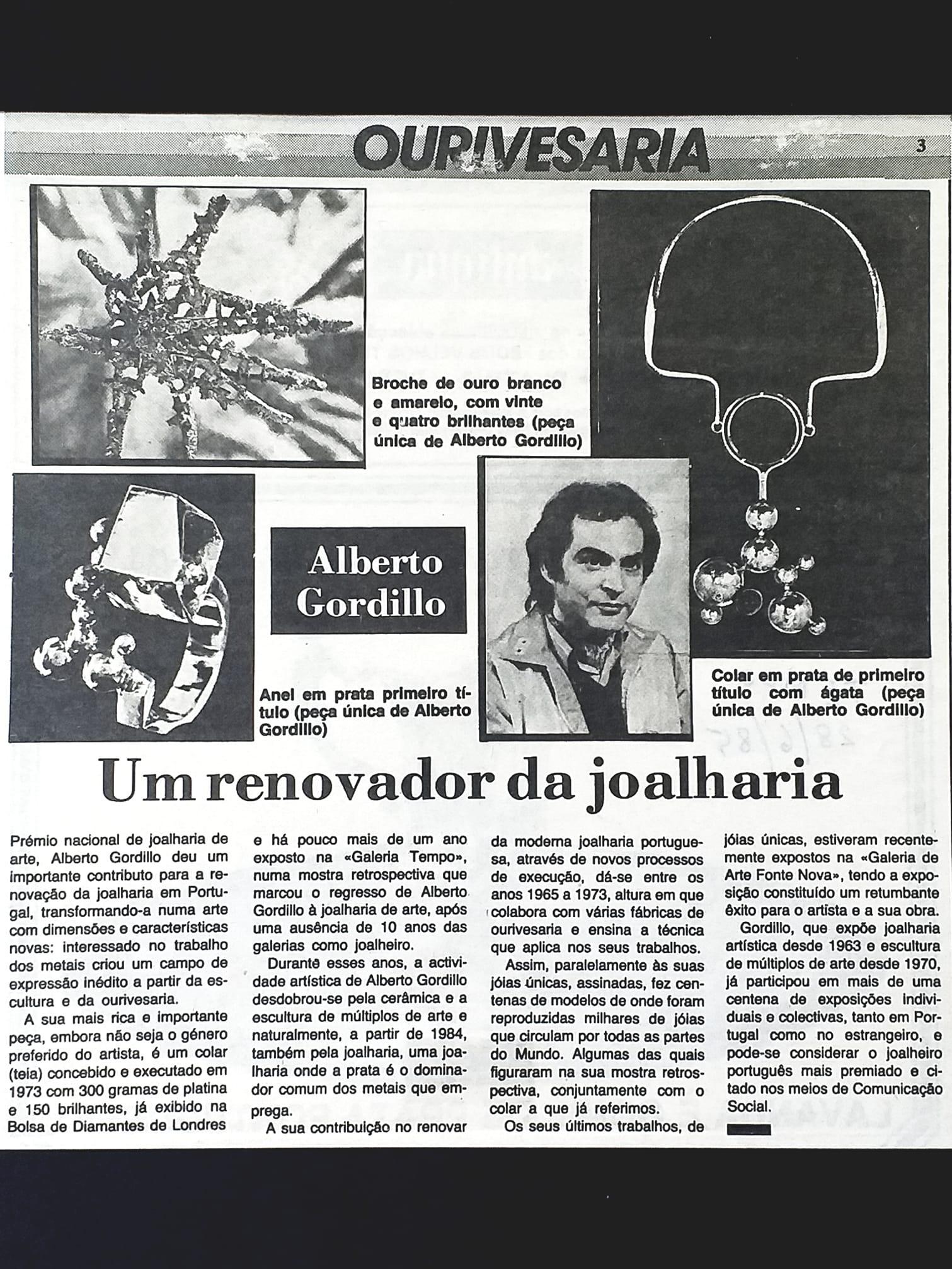 Alberto Gordillo in Tempo, 1985, krantenartikel