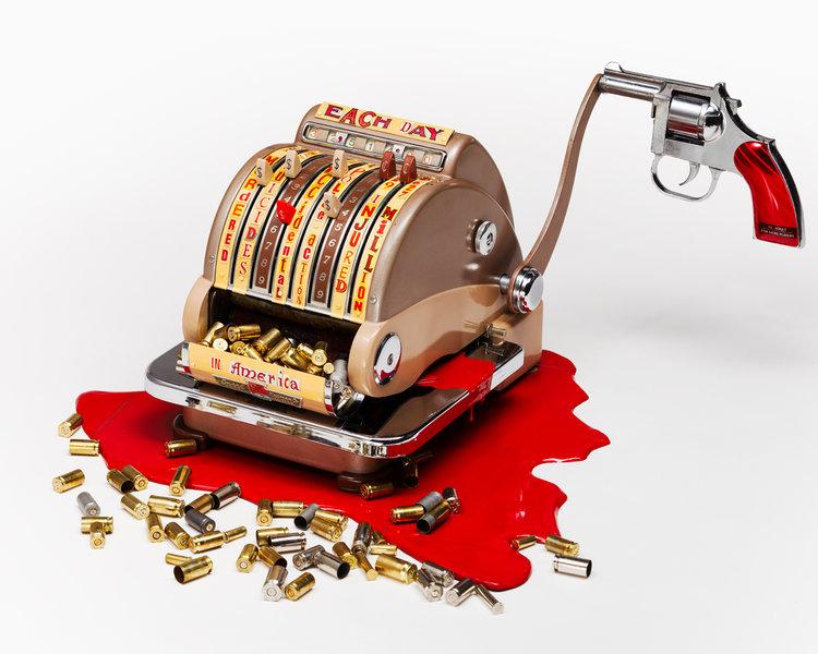 Harriete Estel Berman, Checking the Cost of Gun Violence, object, 2016, tin, verf, zilver, schroeven