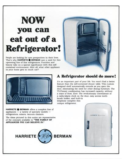 Harriete Estel Berman, Advertentie voor Eating out of the Refrigerator, 1982