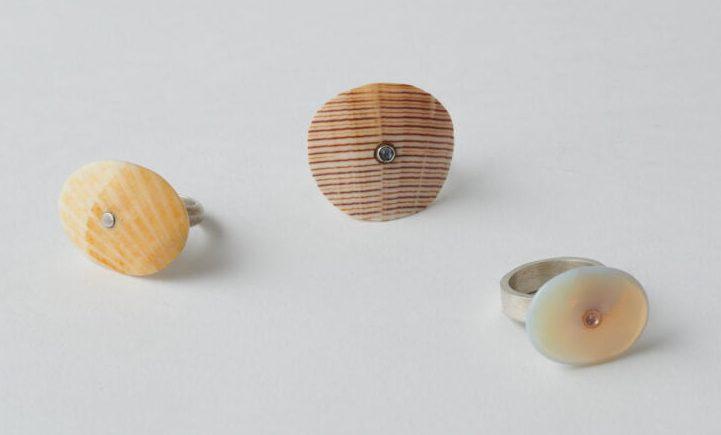 Marian Hosking, ringen, 1998-2000, schelp, maansteen, synthetische spinel, zilver, goud