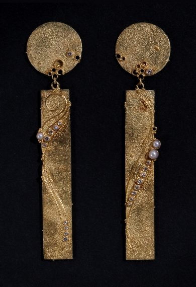 Gerda Flöckinger, #704, oorsieraden, goud, parels, diamanten