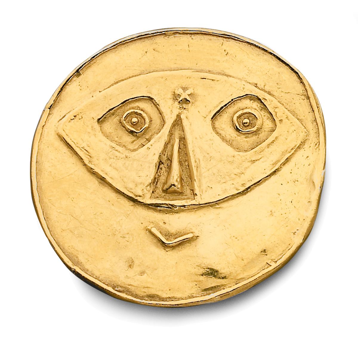 Pablo Picasso door François Hugo, Face of Faun, 16/20, 1970-1979. Particuliere collectie Parijs, goud