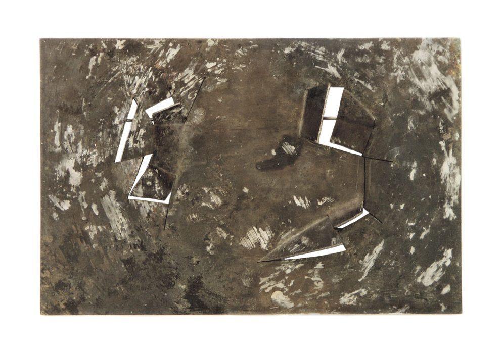 Ann Schmalwaßer, Landschap in de Sneeuw, broche, 2005, titanium, verf
