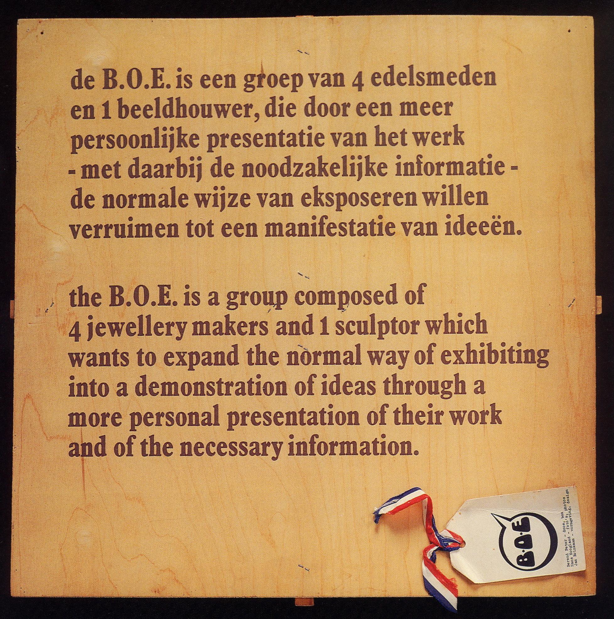 Berend Peter, deksel BOE-doos, 1974, hout, papier, textiel
