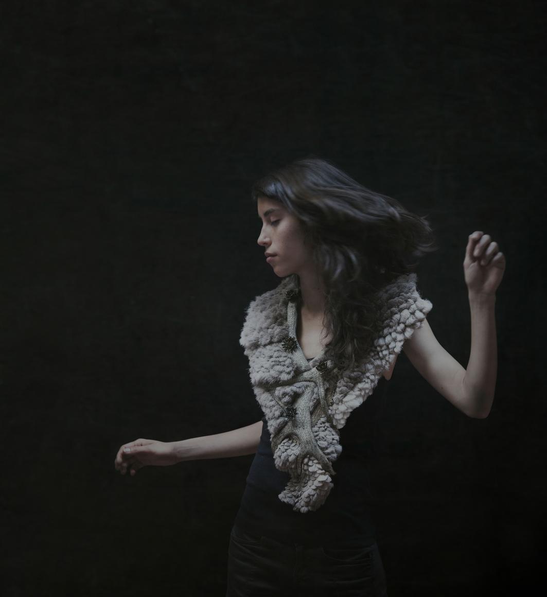 Hanna Hedman, North, halssieraad, 2014, rendierhuid, rendiergewei, elandgewei, messing, katoen, verf