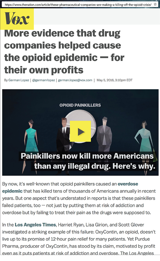 Photo of Vox article: More evidence that drug companies helped cause the opioid epidemic - for their own profits