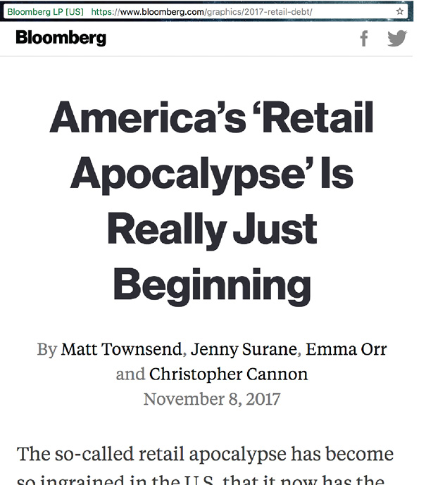 Bloomberg headline on 'Retail Apocalypse'