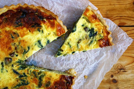 Spring Onion Mushroom and Nettle Quiche