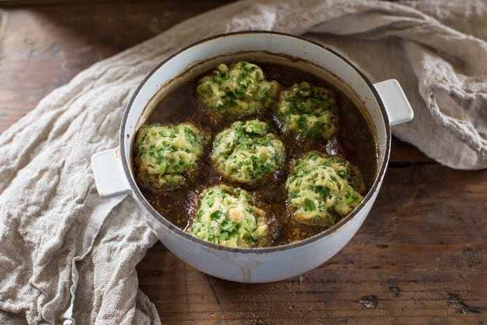 Beef in Guinness with Wild Garlic Dumplings