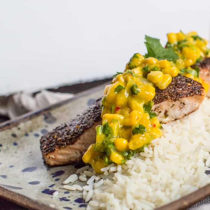 Jerk Salmon with Mango Salsa