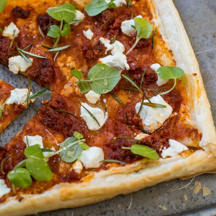 Sobrasada and Goat Cheese Tart
