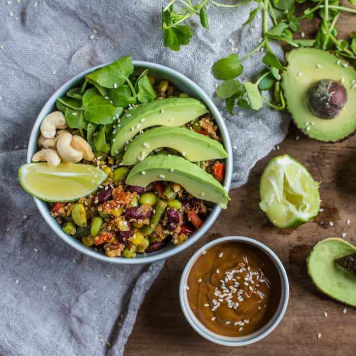 Vegan Buddha Bowl with Spicy Peanut Dressing