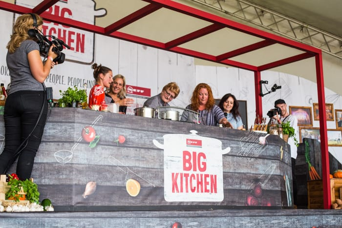 Cooking on stage at the Big Feastival