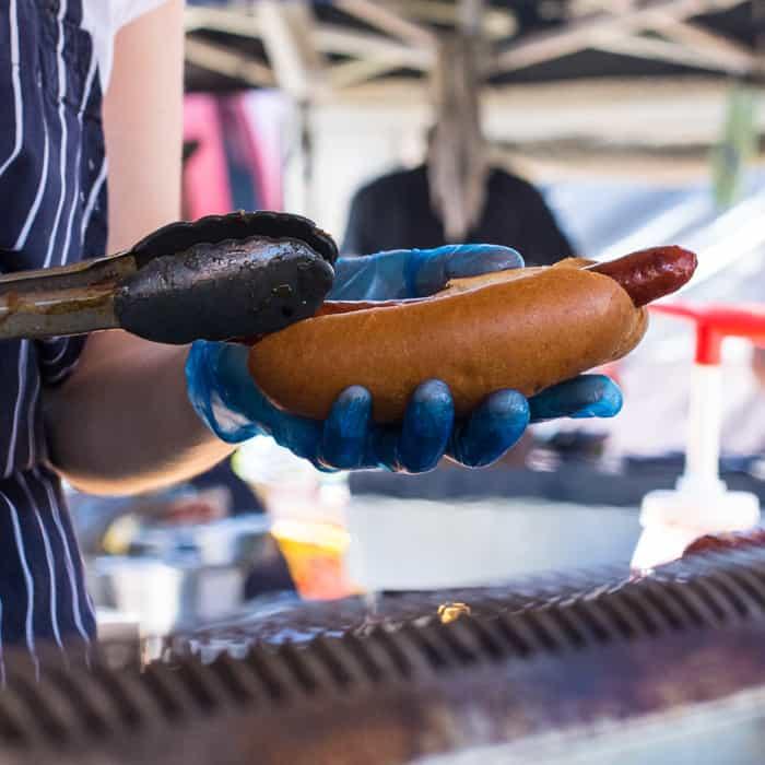 Hot dog in a bun