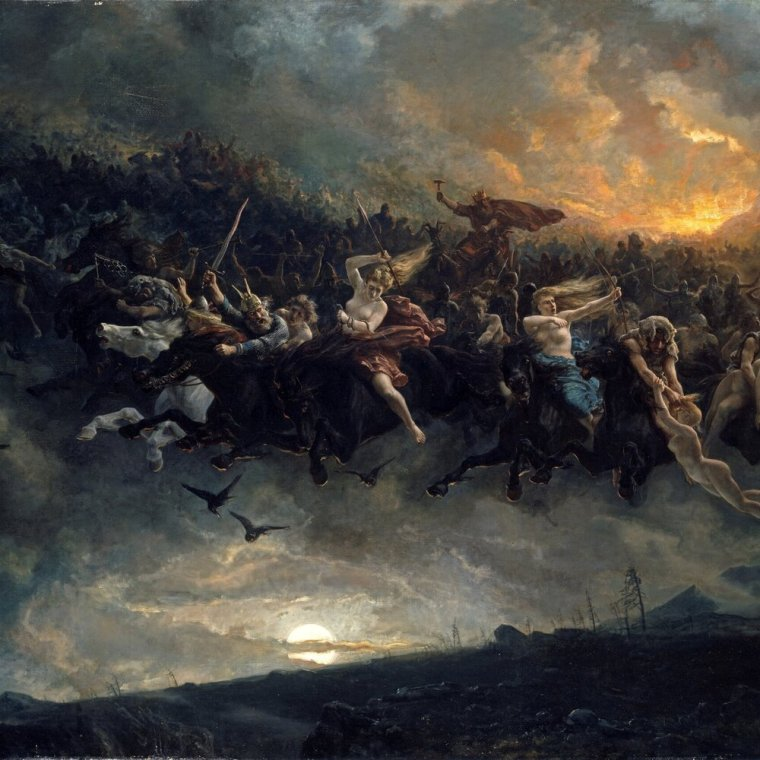 The Wild Hunt - As far as I can tell the tradition of Yule and ghosts hails back to the myths and legend of The Wild Hunt which comes from Norse-Germanic mythology. However, accounts of The Wild Hunt were recorded all over Europe.  The Wild Hunt was a procession led by Odin typically on the night of the winter solstice. It comprised of spectral warriors on black horses and accompanied by black dogs. They were said to make quite the ruckus with horns and hooves if anyone was outdoors to hear it when they passed. There was even lore of spirits leaving the procession to interact with the world of the living and make mischief.