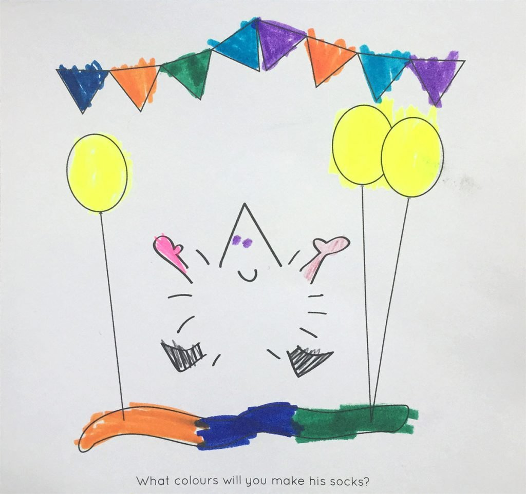 A picture of Henry the Hedgegnome coloured in by AVA aged 4