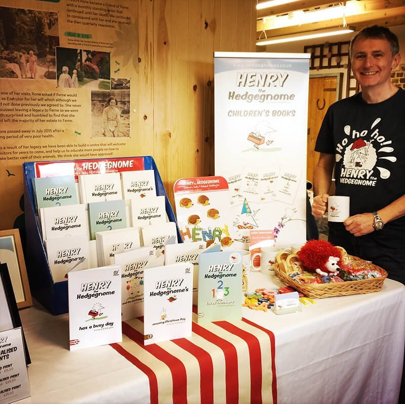 Children's books | Henry the Hedgegnome |Richard Heddington manning the stand