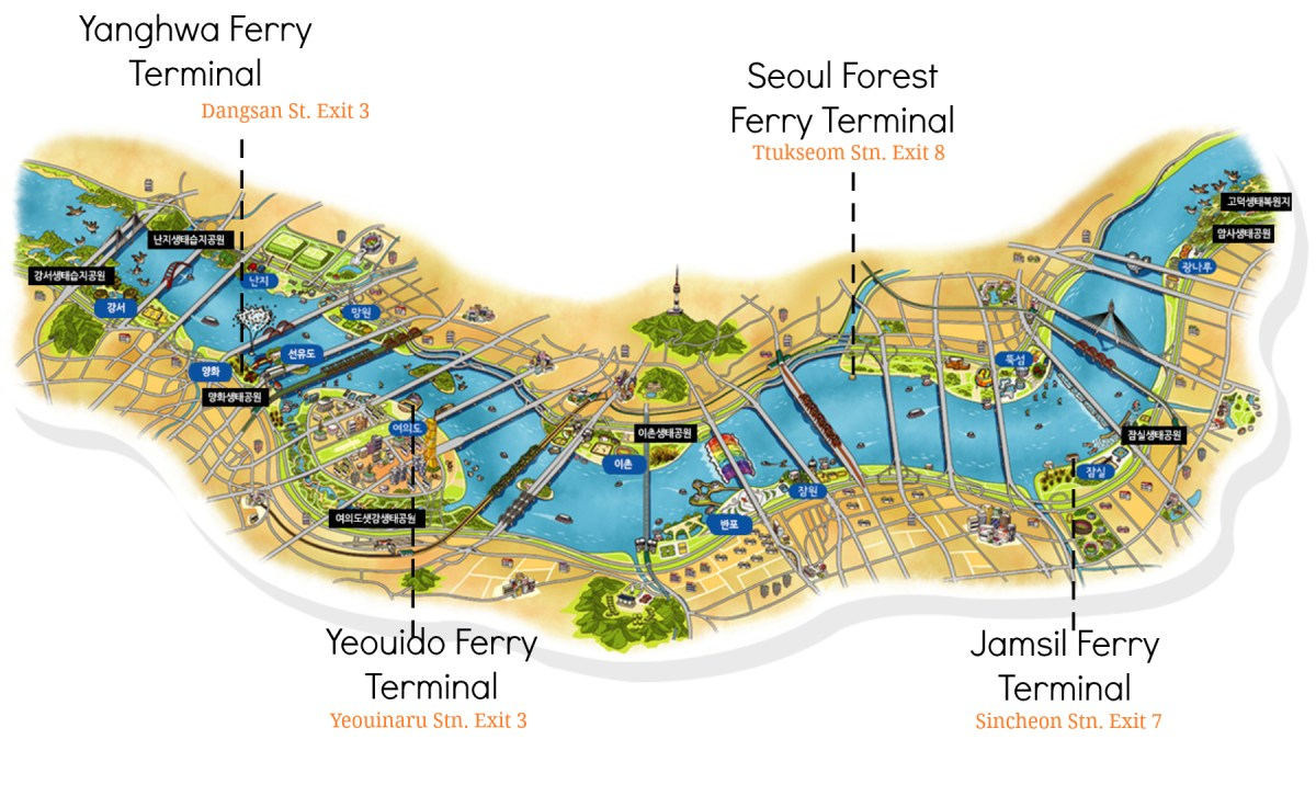 Han River Ferry Terminals English Map