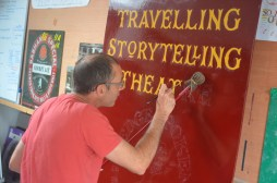 Ash paints the first letters on our signboards