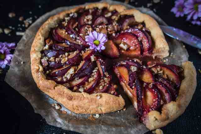 Seasonal, delicious and healthy plum galette recipe using ground almonds making it completely gluten free, yet healthy and tasty.