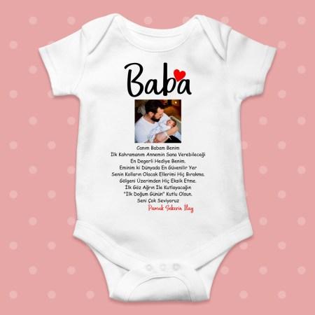 Babaya Özel Sözlü Resimli Doğum Günü Bebek Zıbını