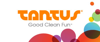 "Tantus logo in orange with ""good clean fun"" written underneath and colorful circles on the bottom right side"