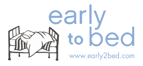 "A illustration of a bed is on the left side, and on the right it says ""Early to Bed, www.early2bed.com"""