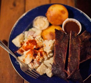 ribs plate with cornbread and potato salad