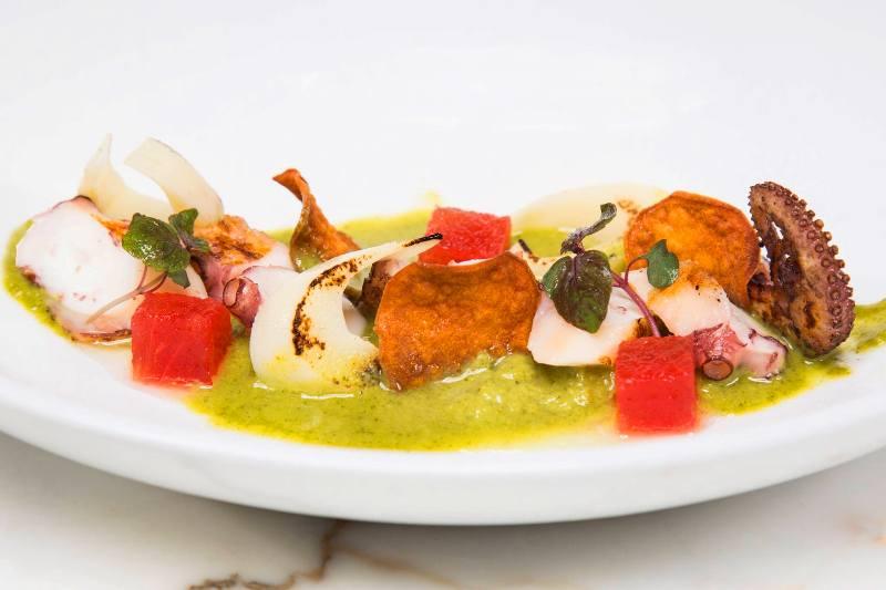 Art Basel Miami - Spanish Octopus, cilantro, watermelon, palmito - courtesy of beaker and gray