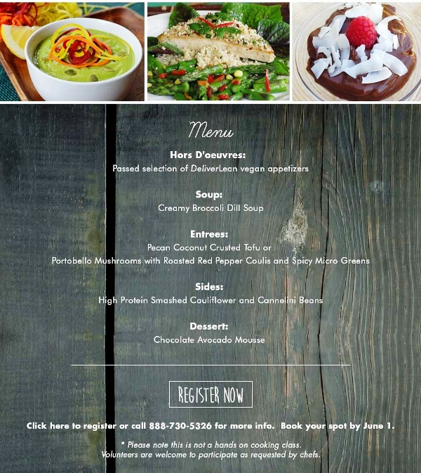 DeliverLean Vegan Cooking event menu 2