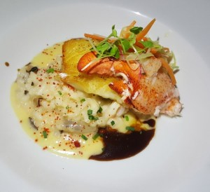 Pan Roasted Sea Bass with Maine Lobster and Truffle Risotto at perla puerto rico