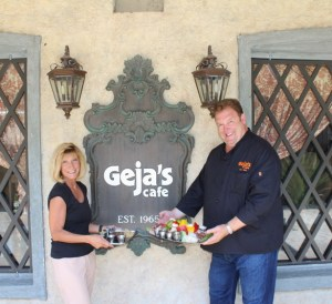 Geja's Cafe Owner Jeff Lawler with Marie Sheppard